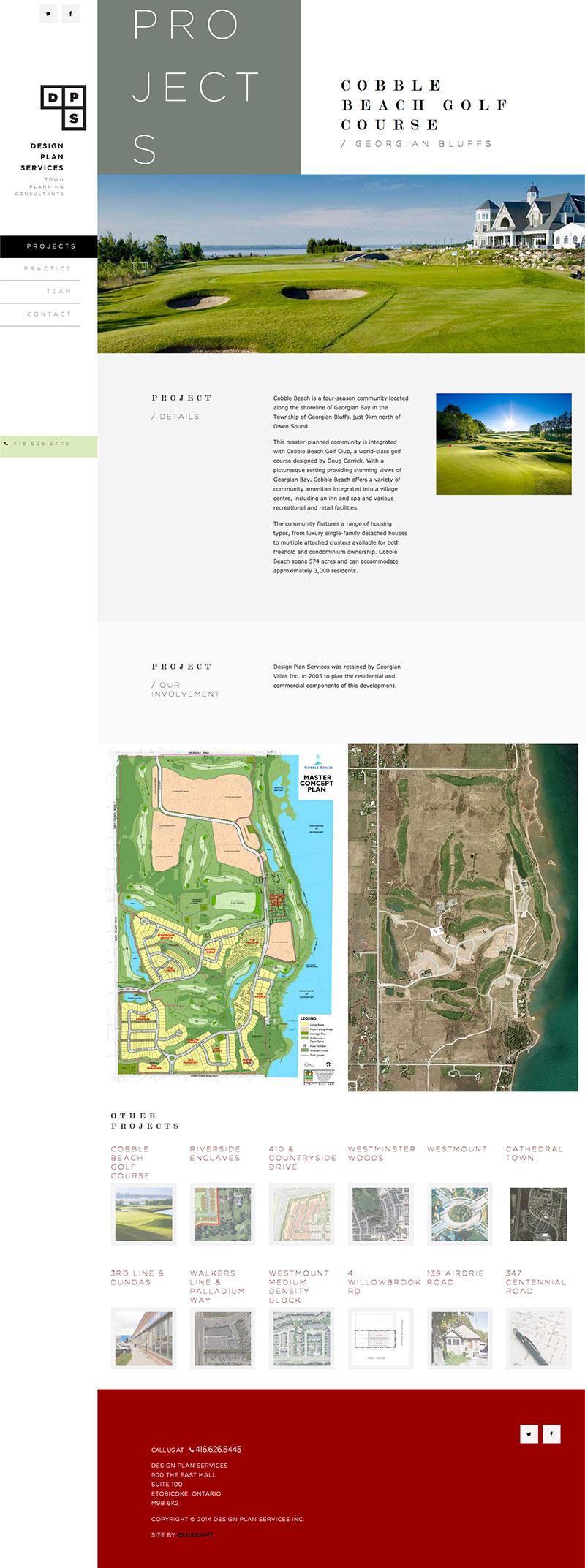 Blueshift Toronto Marketing Agency Portfolio Item - Design Plan Services Website Our Projects
